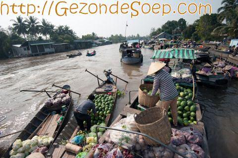 Vietnam Can Tho: Mekong Delta drijvende markt