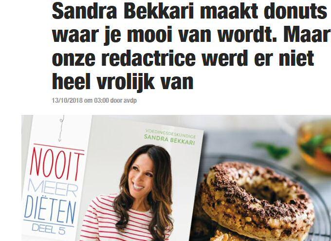 Sandra Bekkari's donut recept uit Het Nieuwsblad 13 oktober 2018